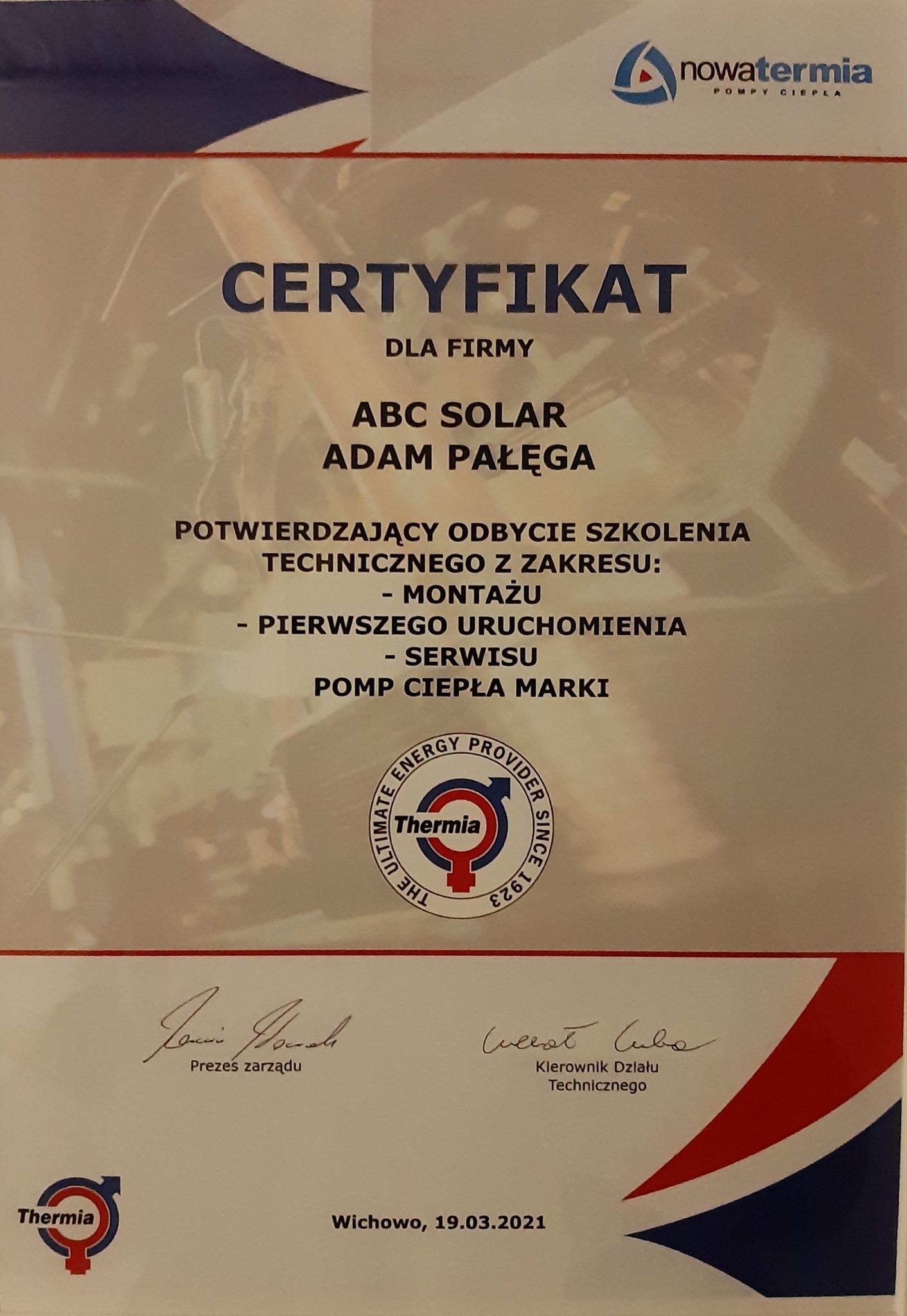 ABC Solar - Certyfikat
